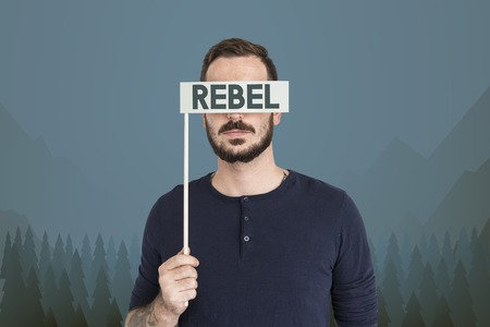 Man with rebel concept Stock Photo