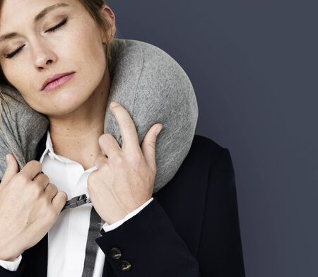 Caucasian Woman Travel Pillow Concept