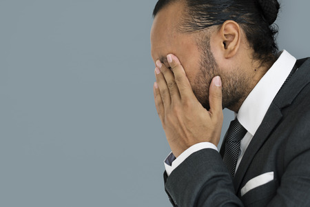 Businessman covering his face concept Stock Photo