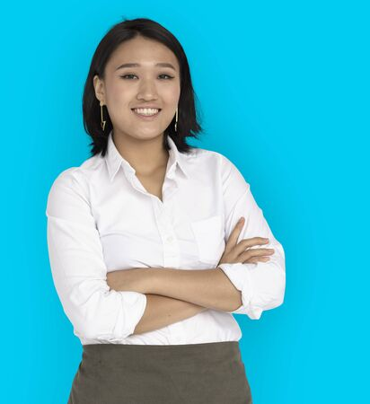 Young Asian Business Woman Confident Smiling Stock Photo