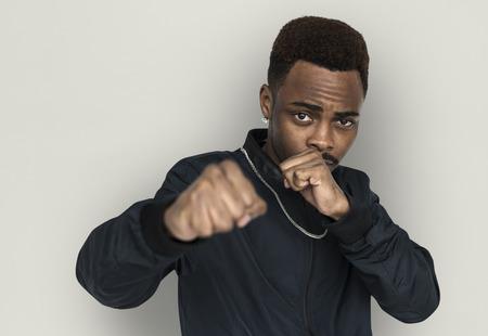 Man with punching pose