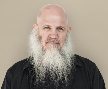 男性大人の長いひげ禿げ頭思慮深い 写真素材