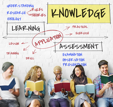 Group of people with knowledge concept Stockfoto
