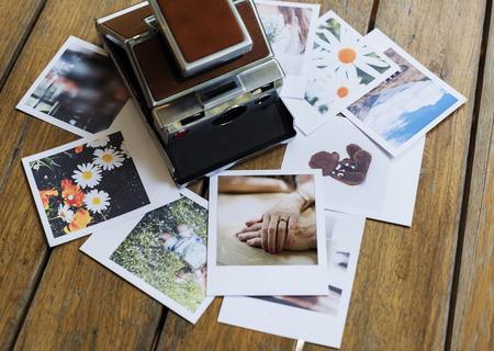 Messy pile of instant photo prints Reklamní fotografie