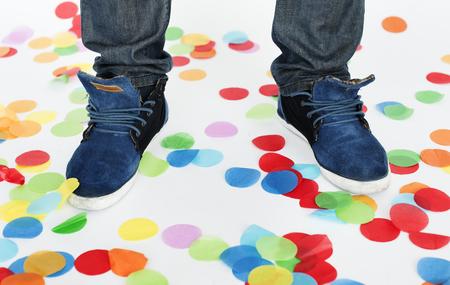 Foot Confetti Party Celebration Concept