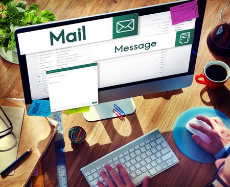 通信: E-mail Global Communications Connection Social Networking Concept 写真素材