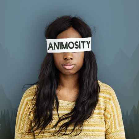 Woman with animosity concept
