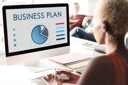 Business plan concept on computer screen