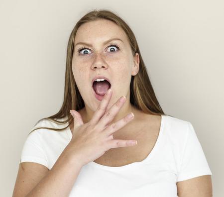 Caucasian Girl Shocked Hand Gesture Stock Photo
