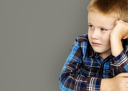 Caucasian Little Boy Frowning Sulking