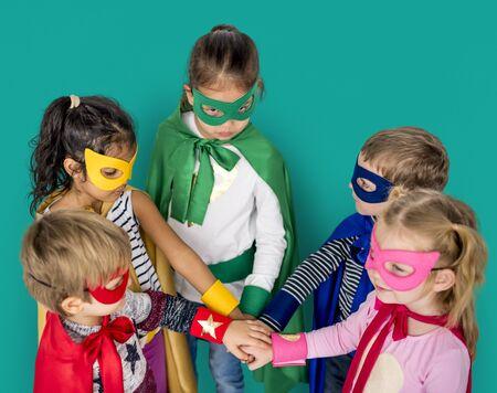 Little Kids Superhero Hands Together Teamwork