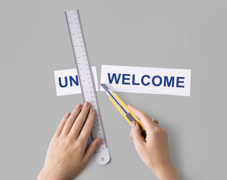 Unacceptable Unwelcome Hand Cut Word Split Concept