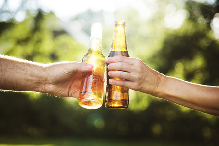 Cheers Beer Alcohol Celebration Outdoors Toast Concept Stock Photo