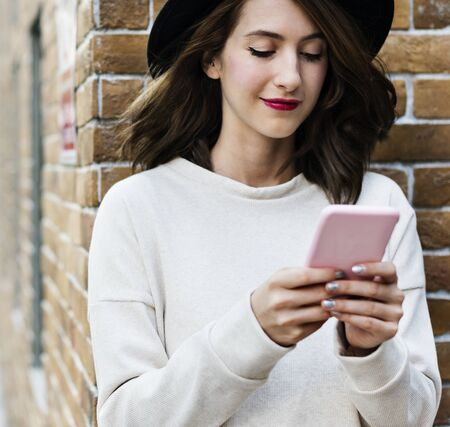 Woman Using Smart Phone Connection Techie Stock Photo