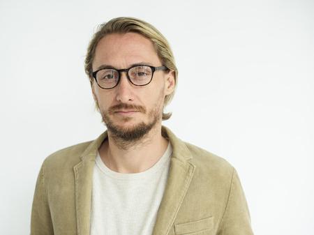 Blonde guy wearing glasses solo portrait