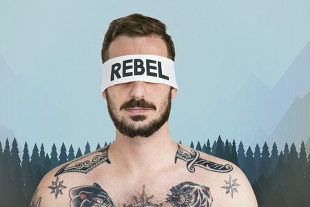 Rebel concept on blindfolded man Stock Photo - 112969048