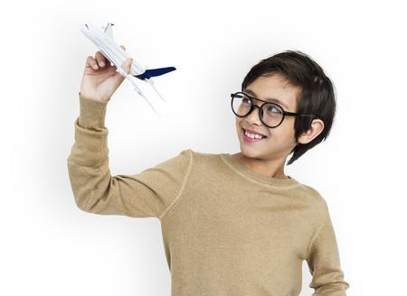 Little Boy Kid Adorable Cute AIrplane Playful Dream Portrait Concept Stock Photo