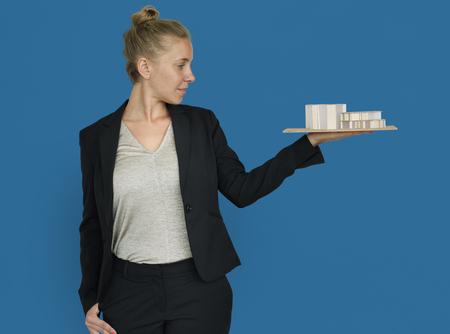 Businesswoman Architectural Model Plan Built Structure Concept Stock Photo