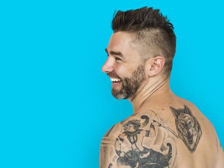 Caucasian Man Back Tattoo Smiling