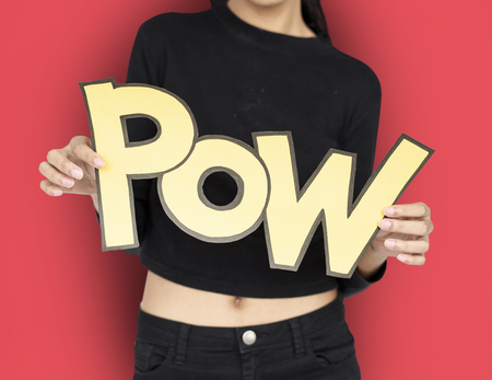 Woman holding the word POW concept