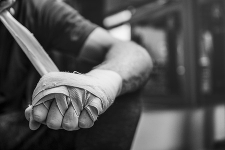 protection concept: Boxer Hand Wraps Protection Knuckle Concept Stock Photo