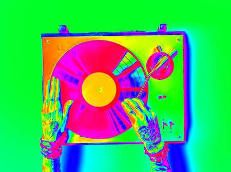 Vinyl Audio Music Rhythm Playing Tattoo Art Concept Reklamní fotografie