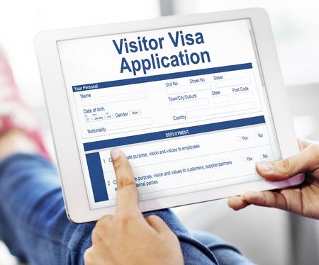 Visitor visa application concept on digital tablet Stock Photo