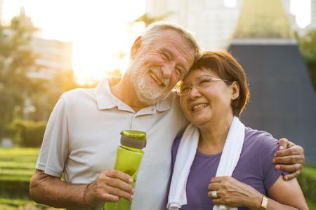 Loving senior couple exercising