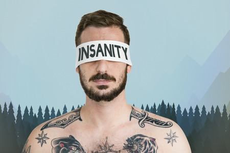 Man with insanity concept Stock Photo