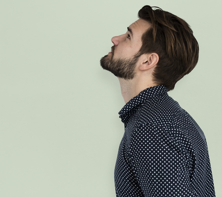 depress: Man Curious Thinking Look up SIde View Portrait