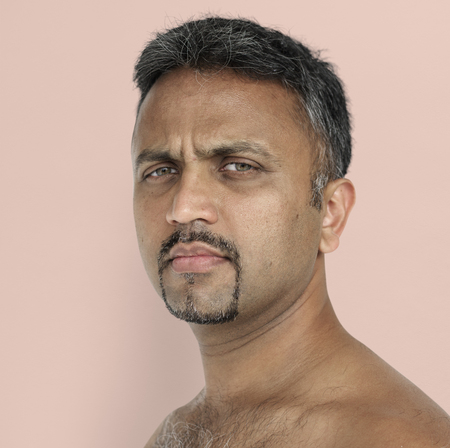 Men Adult Serious Expression Studio Stock Photo
