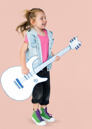 music lyrics: Portrait of a Little Blonde Caucasian Girl Smiling Isolated
