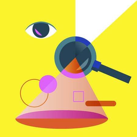 Magnifying glass with searching and finding emblem Illustration