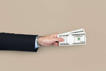 action fund: Human Hand Holding Dollar Bill Finance Payment