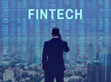 crossover: Global Business Accounting Fintech Marketing Stock Photo