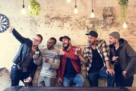 Men Use Mobile Phone Selfie Photo