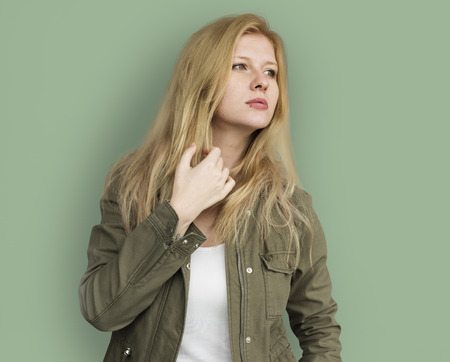 Portrait of Young Adult Blonde Caucasian Woman With Jacket