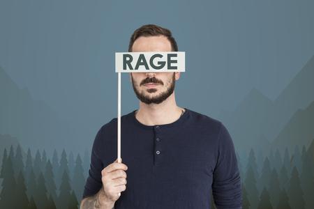 Man Holding Rage Sign
