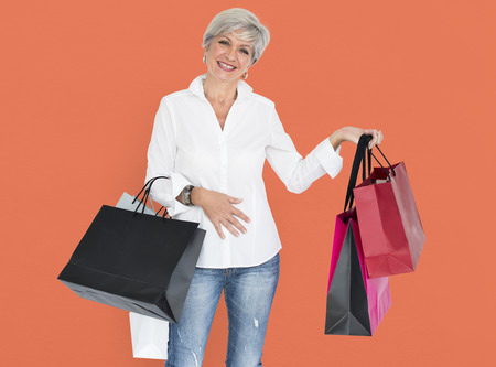 or spree: Woman Cheerful Shopping Bags Concept