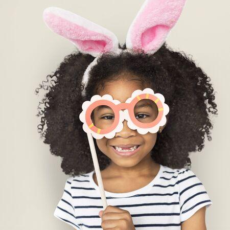 African Descent Little Girl Bunny Ears Concept