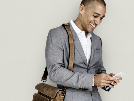 African Descent Business Man Smiling Phone