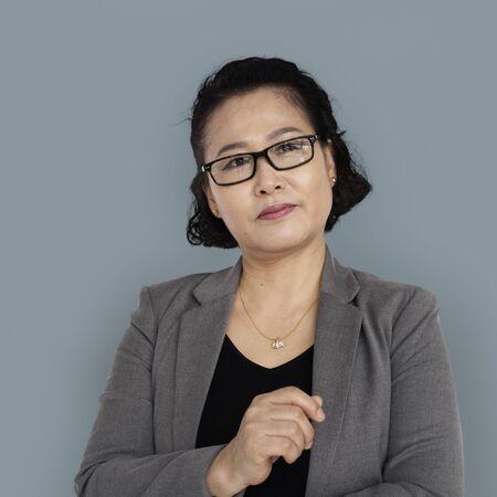 Asian Business Woman Thinking Stock Photo