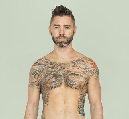 neutral: Caucasian Man Tattooed Chest