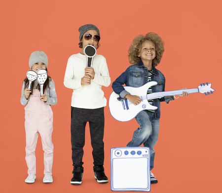 Children Smiling Happiness Music Band Mockup Stock Photo