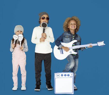Children Smiling Happiness Music Band Mockup Stock Photo