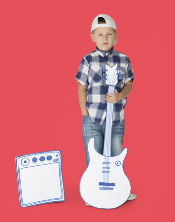 amp: Portrait of a Little Blond Caucasian Boy with Guitar Isolated Stock Photo