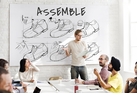 Shoe production procedure sketch drawing Stock Photo