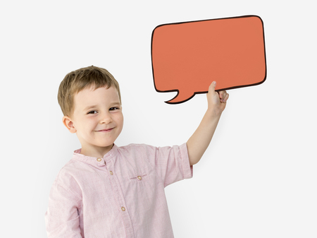 Young boy with speech bubble concept