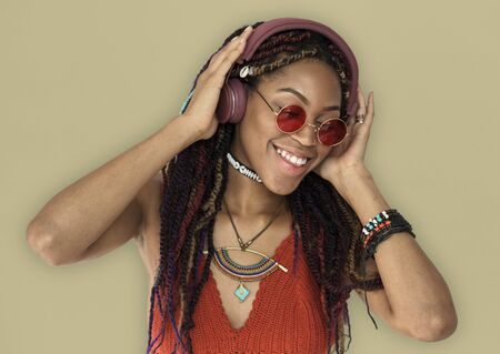 African Woman Smiling Happiness Headphones Music Entertainment