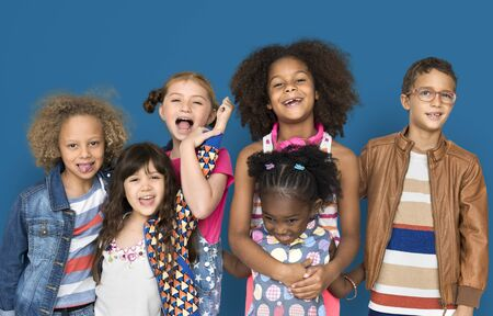 Diverse Group of Happy Young Children Stock Photo